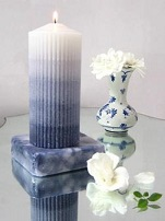 Ribbed pillar candle centerpiece